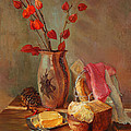 Still-life With Fresh Bread And A Knife by Galina Gladkaya