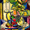 Still Life With Fruit Candles And Bamboo by Everett Spruill
