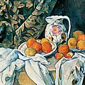 Still Life With Fruit Curtain And Flowered Pitcher by Paul Cezanne