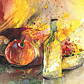 Still Life With Fruits And Flowers And Bottle by Miki De Goodaboom