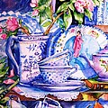 Still Life With  Japanese Plate And Apple Blossom  by Trudi Doyle