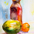 Still Life With Jug And Fruit by Regina Jershova