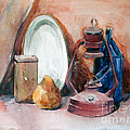 Watercolor Still Life With Rustic, Old Miners Lamp by Greta Corens