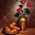 Still Life With Pears And Roses by Mark Fuller