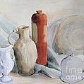 Watercolor Still Life With Pottery And Stone by Greta Corens