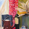 Oil Painting Still Life With Red Cloth And Pottery by Greta Corens