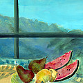 Still Life With Watermelon Oil & Acrylic On Canvas by Marisa Leon