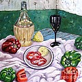 Wine And Capsicum by Caroline Street