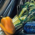 Still Life With Yellow Pepper Bok Choy Glass And Dish by Donna Tuten