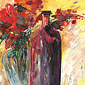 Still Live With Flowers Vase And Black Bottle by Miki De Goodaboom