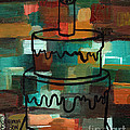 Stl250 Birthday Cake Earth Tones Abstract by Genevieve Esson