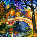Stone Bridge - Palette Knife Oil Painting On Canvas By Leonid Afremov by Leonid Afremov