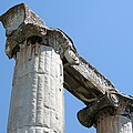 Stone Carved Columns At The Temple Of Aphrodite  by Taiche Acrylic Art