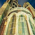 Stone Church Exterior Facade Windows At Night by Stephan Pietzko