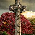 Stone Cross In Fall Garden by Lesa Fine