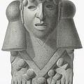 Stone Idol Of The Rain God Cocijo by Johann Friedrich Maximilian von Waldeck
