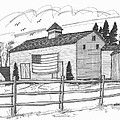 Stone Ridge Barn With Flag by Richard Wambach