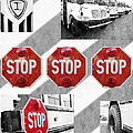 Stop For Students Painterly Bw Red Signs by Andee Design