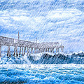 Storm Over The Sea - Tybee Pier by Mark E Tisdale
