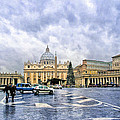 Storms Over St Peter's Basilica In Rome by Mark Tisdale