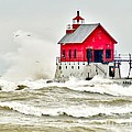 Stormy At Grand Haven Light by Nick Zelinsky