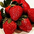 Strawberries Expressive Brushstrokes by Barbara Griffin