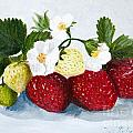 Strawberries With Blossoms by Iris Richardson