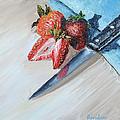 Strawberries With Knife by Regina Davidson