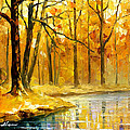 Stream In The Forest - Palette Knife Oil Painting On Canvas By Leonid Afremov by Leonid Afremov