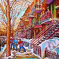 Street Hockey Game In Montreal Winter Scene With Winding Staircases Painting By Carole Spandau by Carole Spandau