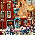 Street Hockey Practice Wilensky's Diner Montreal Winter Street Scenes Paintings Carole Spandau by Carole Spandau