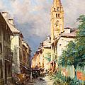 Street In Barcelonette by Charles Alexandre Bertier