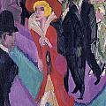 Street With Red Streetwalker by Ernst Ludwig Kirchner