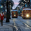 Streetcars On Canal Street by Mary  Smyth