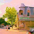 Streets Of Pointe St Charles Summer Scene Connies Pizza Rue Charlevoix Et Grand Trunk Carole Spandau by Carole Spandau