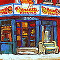 Streets Of Verdun Hockey Game At Famous Verdun Restaurant Pierrette Patates Montreal Hockey Art  by Carole Spandau