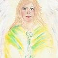 Stripey Angel With Green Eyes by Karen Jane Jones
