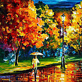 Stroll In The Night - Palette Knife Oil Painting On Canvas By Leonid Afremov by Leonid Afremov