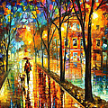 Stroll With My Best Friend - Palette Knife Oil Painting On Canvas By Leonid Afremov by Leonid Afremov