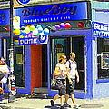 Strolling By The Blue Boy Frozen Yogurt Glacee Cafe Plateau Mont Royal City Scene Carole Spandau   by Carole Spandau