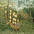 Struggle Between Tiger And Bull by Henri Rousseau