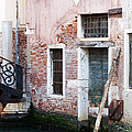 Stucco And Brick Canalside Building Venice Italy by Sally Rockefeller