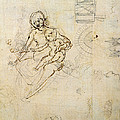 Studies For A Virgin And Child And Of Heads In Profile And Machines, C.1478-80 Pencil And Ink by Leonardo da Vinci