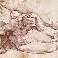 Study Of Three Male Figures by Michelangelo Buonarroti