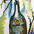 Study - Yellow Ducky In  Bottle by M E Wood