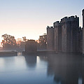 Stunning Moat And Castle In Autumn Fall Sunrise With Mist Over M by Matthew Gibson