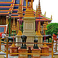 Stupa Surrounded By Elephants At Grand Palace Of Thailand In Ban by Ruth Hager