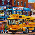 St.viateur Bagel And School Bus Montreal Urban City Scene by Carole Spandau