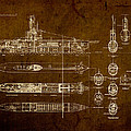 Submarine Blueprint Vintage On Distressed Worn Parchment by Design Turnpike