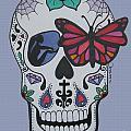 Sugar Candy Skull Blue by Karen Larter